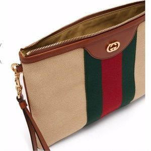 GUCCI GG Web Canvas Leather Pouch